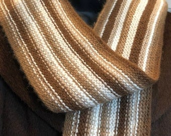 Paco-Vicuna Hand-Knitted Scarf, Striped & So Soft!