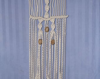 Natural, Cotton Macrame Wall Hanging ft. Oak Wood, Wooden Beads