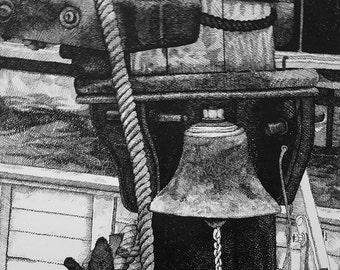 Docked Boat Bell Pen & Ink Print