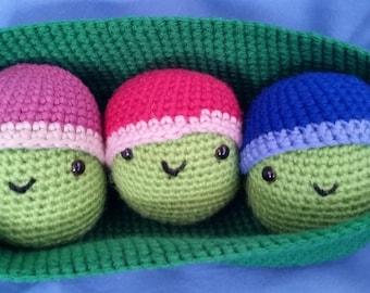 Peas in a pod, crochet