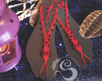 Barefoot Northern Cardinal inspired macrame barefoot sandals, boho, foot jewellery, gypsy, anklet, indie, beach, summer, foot adornment