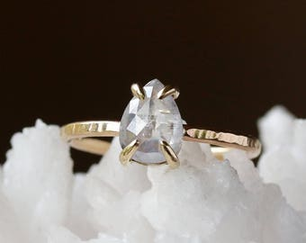 Rose Cut Pear Diamond Ring, Unique Engagement Ring, Natural Color Icy White Diamond, Pear Cut 14k Yellow Gold, Conflict Free Diamond