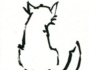 Original Black Cat Gouache Painting ACEO number 172