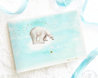 Polar bear card, Christmas card, make a wish, on a star, north pole, holiday card, birthday card, blank inside