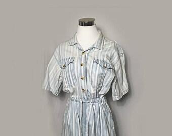 Vintage Romper, 1980's, Shorts, Short Sleeves, Cotton,  Blue and Whte Stripes, Northwest Blue, Medium