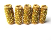 Embroidered Fabric Beads. Wide Hole Fabric Beads for Beading, Jewelry, Macrame or Hair. Golden Mustard Yellow Shot Cotton Fabric Boho Beads