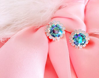 Sapphire AB 8mm with Rose Water Opal Swarovski Earrings In Silver Matte Setting *Lots of SPARKLE* Free U.S. Shipping