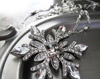 Snowflake Necklace - Snow Flake Pendant Necklace with Crystal Rhinestones and Silver, Christmas Jewelry, Christmas Necklace, Winter Wedding