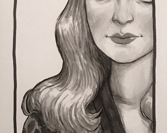 "Original Ink Drawing ""Claudette"" by Amy Abshier"