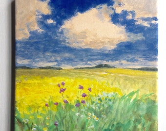Summer Fields - Original Landscape Painting on canvas 8x8 Clouds Flowers Blue Sky