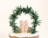 Botanical Cake Topper, Woodland palm wedding, Simple cake top, wedding cake topper, bride and groom decoration, moss and succulent topper