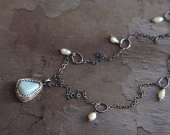 Larimar Necklace - Pearl Necklace - Blue White Necklace - Hand Stamped Necklace - Rustic Silver Necklace - Oxidized Sterling Silver Necklace