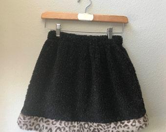 Little Girls Skirt Black Berber fleece with Faux Fur Leopard Trim, Winter skirt, Toddler Skirt, Faux Fur Skirt, Girl Skirt, Size 10, Size 8