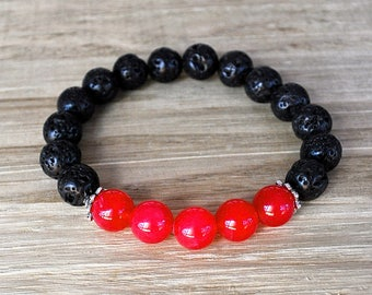 Red Jade Bracelet Unisex Perfect For A Man or Woman Black Lava Rock Add Your Aromatherapy Oils Stretch Artisan Stackable