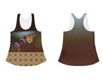 Monarch Butterfly and Gothic Mandala Tile Women's Pretty Racer Back Summer Tank Top, Butterfly Clothing for Women