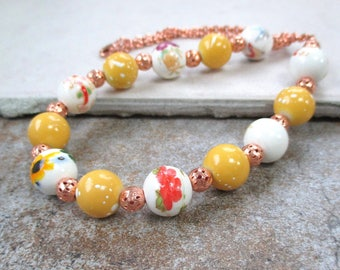 Chunky Choker, Yellow & White Beaded Necklace, Summer Colors, Colorful Floral Porcelain, Ceramic Beads, Copper Chain, Lobster Claw Clasp