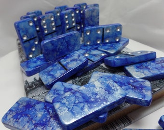 Dominoes 'Starry Night' Hand Painted 28 Piece Standard Size Domino Set Paris Theme Storage Book Box instructions alcohol ink silver leaf pen