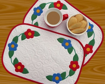 Pretty Posy Placemats pattern, Makes 2, quilted placemat pattern