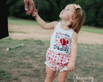 NEW You Call Him Coach Tank Top and Ruffle Bloomies Set, Fan Personalized, Summer Clothes, Baby Girl Outfits, by Charming Necessities Red
