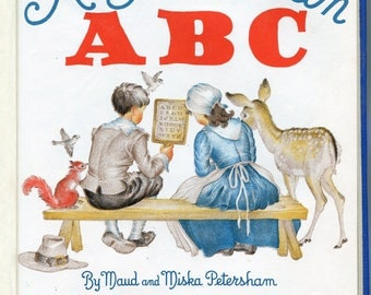1940s An American ABC Book Vintage Illustrated Alphabet Color Illustrations Childrens Book Patriotic Yankee Doodle Red White and Blue
