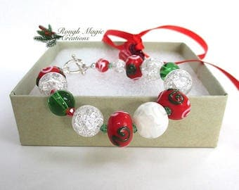 Christmas Bracelet, Red Green White Lampwork Chunky Bright Holiday Colors, Crystal, Silver Toggle Clasp, Merry Xmas Present for Woman B239