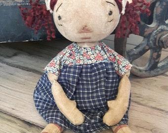 """Primitive Raggedy Ann~OOAK Handmade~Annie~14"""" Prim Doll"""