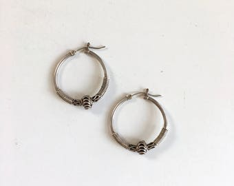 Tribal Hoops | vintage sterling silver hoops earrings | sterling earrings