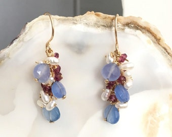 Blue Chalcedony Faceted Teardrop Surrounded w/ White Rice Pearl & Rhodolite Garnet Handmade Cluster Earrings Made of 14k Gold Filled - dba58