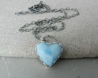 Handmade Blue Natural Larimar Heart and Sterling Layering Necklace-- Gemstone Layering