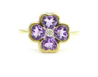 Vintage 9ct/9K gold Amethyst dress ring English estate four leaf lucky clover Shamrock  size N Hearts Engagement promise Birthday Sweet 16