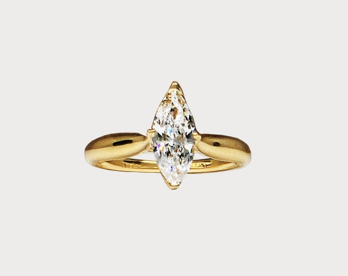 You Are My True North _ 14K Yellow Gold Marquise Harmony Diamond Engagement ring
