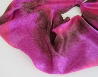 Red Silk Scarf, Hand Painted Red Violet Silk Scarf, Purple Scarf, Hand Painted Brown Silk Scarf, Silk Scarf, Large Silk Scarf