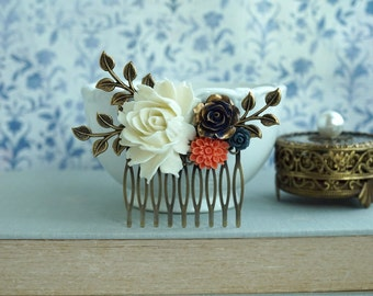 Navy Coral Creamy Ivory Shade Flower Comb Rustic Wedding Comb Romantic Bridal Comb Navy Wedding Bridesmaid Gifts Unique Comb Blue and Gold