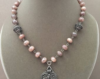 Sophie -- Peach Moonstone with Mystic Coating Pendant
