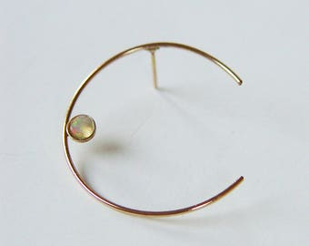 Crescent Moon Opal Stud Earrings Gold Filled