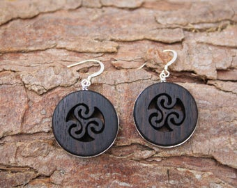 Hand Carved Wood Earrings, Rosewood Triskele Earrings On Sterling Silver, Celtic Triple Spiral Triskelion Earrings, Handmade In Ireland