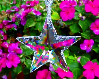 m/w Swarovski Crystal 50mm LARGE EXTREMELY RARE Logo Strass Clear Star on Strand of Rare Beads Suncatcher Car Charm by Lilli Heart Designs