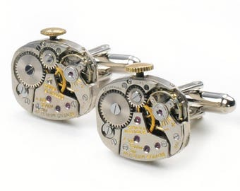 Steampunk Vintage Benrus Watch Movement Cuff Links
