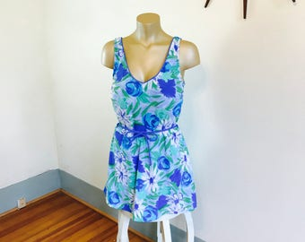 Plus Size Swimsuit, 70s Onepiece, Sea Wave swimsuit, 70s Bathing Suit, Floral one piece, Skirted swimsuit, Plus Size swimwear, Sz 20 22 3XL