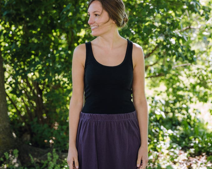 Featured listing image: Womens Cotton Jersey Knit Skirt  Made in the USA -  Made to Order - All Seasons