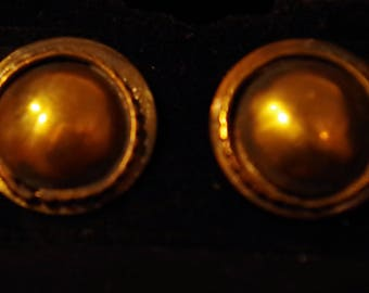 Bronze Button Earrings with Sterling Silver Posts