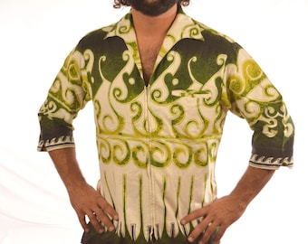 Vintage 60s Cotton Tiki Aloha Surf Tribal Hawaiian Textured Barkcloth Zip Up Shirt - Keone Sportswear Liberty House