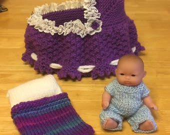 Purple Cradle/Purse with Baby Doll