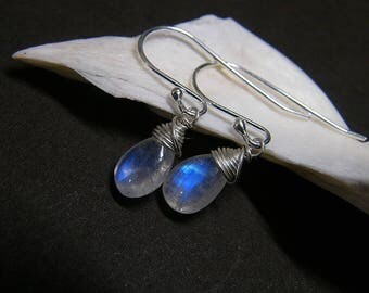Rainbow moonstone earrings, June birthstone earrings, PETITE moonstone dangle earrings in sterling silver, blue flash moonstone silver drops