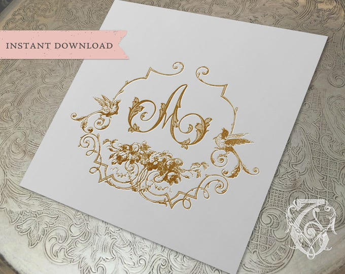 Vintage Wedding Initial Crest Romantic A Digital Download