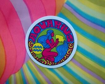 Aquarius Sticker... 3 Inch Thick Vinyl Sticker... Zodiac Sticker