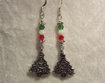Red White Green Christmas Tree Earrings, Christmas Earrings, Christmas Tree Charm Earrings, Silver Charm, Crystal Beads, Clip ons Available