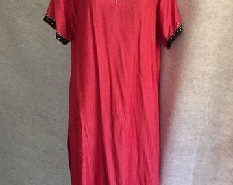 Vintage Boho Tunic Dress, 80s 90s Long Tunic, Orange, Black and Gold, Bohemian, Short Sleeve, Women's Large