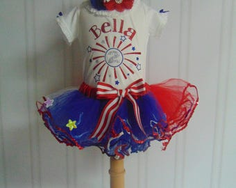 4th of July  Outfit- 4th of July Birthday Outfit- Cute Personalized Onesie/T-Shirt/Tutu and Headband Independence Day