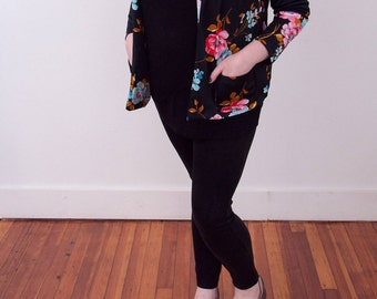 Vintage 90s Blazer - Floral Print Blazer - Vtg Flower Pattern Jacket - Black Blazer with Multicolor Tropical Print - Gift for Her